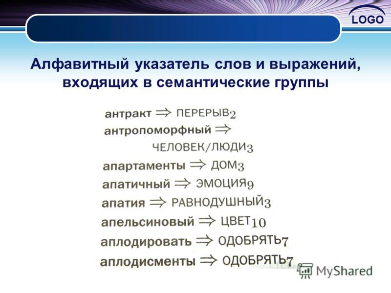 LOGO Алфавитный указатель слов и выражений, входящих в семантические группы