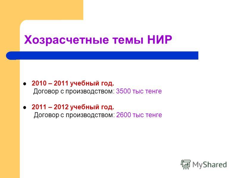 Хозрасчетные темы НИР 2010 – 2011 учебный год. Договор с производством: 3500 тыс тенге 2011 – 2012 учебный год. Договор с производством: 2600 тыс тенге