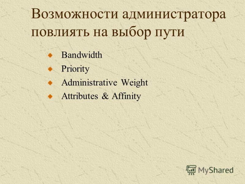 Возможности администратора повлиять на выбор пути Bandwidth Priority Administrative Weight Attributes & Affinity