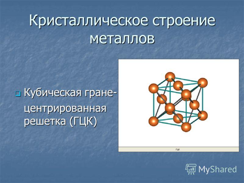 Кристаллическое строение металлов Кубическая гране- Кубическая гране- центрированная решетка (ГЦК)
