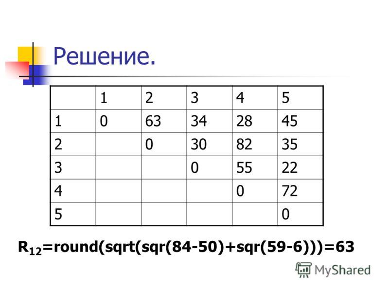 Решение. 12345 1063342845 20308235 305522 4072 50 R 12 =round(sqrt(sqr(84-50)+sqr(59-6)))=63