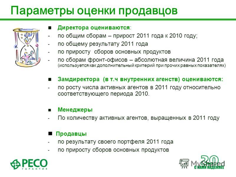 Параметры оценки продавцов Директора оцениваются: - по общим сборам – прирост 2011 года к 2010 году; - по общему результату 2011 года - по приросту сборов основных продуктов - по сборам фронт-офисов – абсолютная величина 2011 года (используется как д