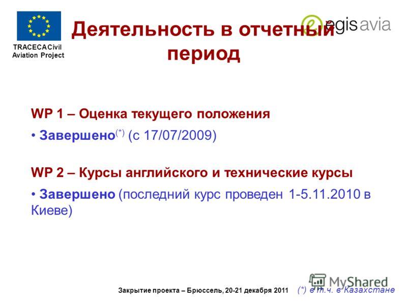 TRACECA Civil Aviation Project REPORT ON PROJECT PROGRESS 1 st Aug. 2011 to 1 st Feb. 2012 Закрытие проекта – Брюссель, 20-21 декабря 2011 Деятельность в отчетный период WP 1 – Оценка текущего положения Завершено (*) (с 17/07/2009) WP 2 – Курсы англи