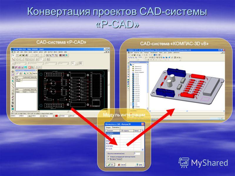 Конвертация проектов CAD-системы «P-CAD» CAD-система «КОМПАС-3D v8» CAD-система «P-CAD» Модуль интеграции