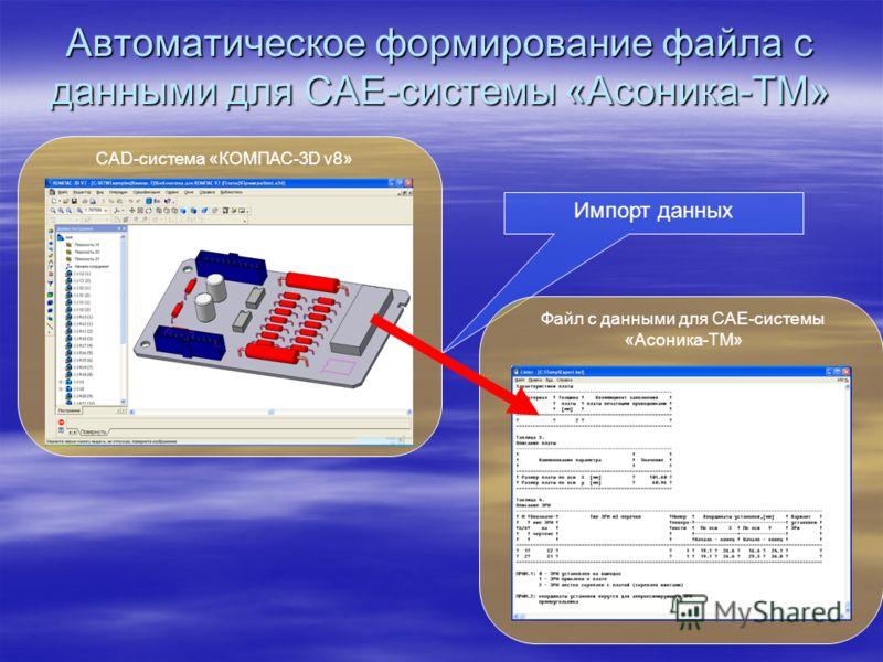 Автоматическое формирование файла с данными для CAE-системы «Асоника-ТМ» CAD-система «КОМПАС-3D v8» Импорт данных Файл с данными для CAE-системы «Асоника-ТМ»