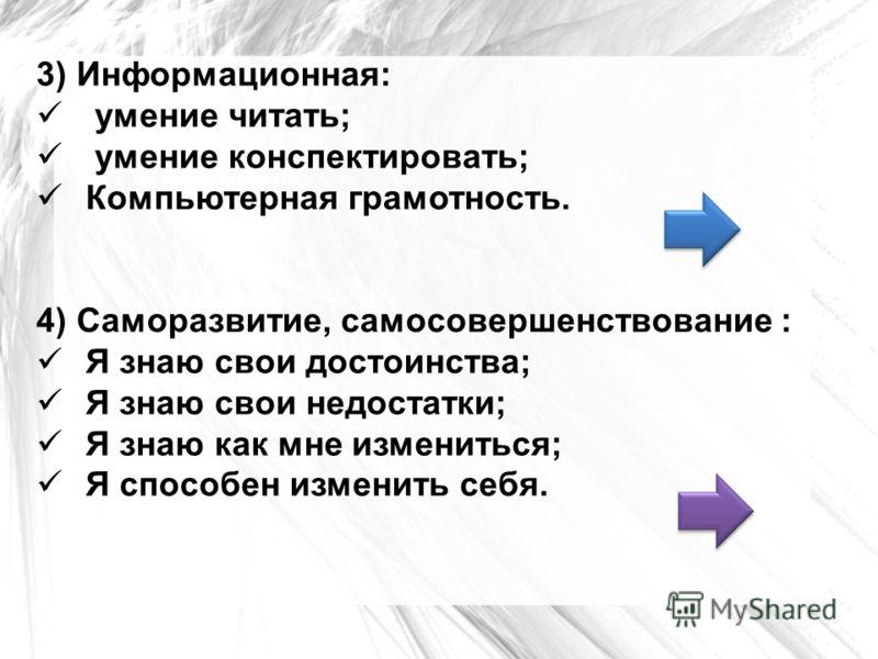 3) Информационная: умение читать; умение конспектировать; Компьютерная грамотность. 4) Саморазвитие, самосовершенствование : Я знаю свои достоинства; Я знаю свои недостатки; Я знаю как мне измениться; Я способен изменить себя.