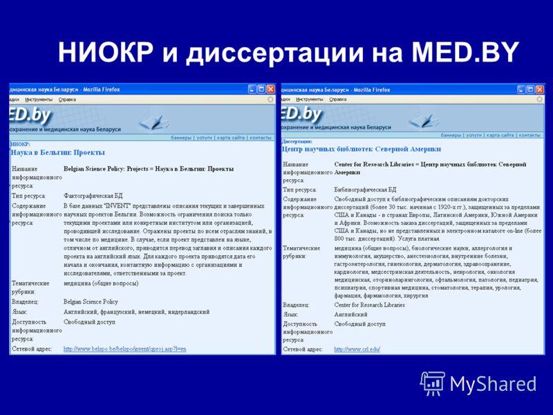 НИОКР и диссертации на MED.BY