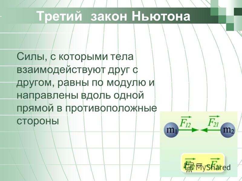 Третий закон Ньютона Силы, с которыми тела взаимодействуют друг с другом, равны по модулю и направлены вдоль одной прямой в противоположные стороны