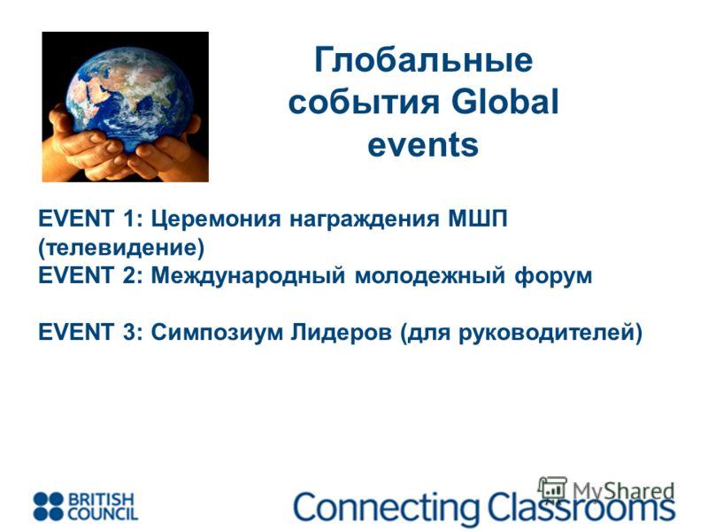 Глобальные события Global events EVENT 1: Церемония награждения МШП (телевидение) EVENT 2: Международный молодежный форум EVENT 3: Симпозиум Лидеров (для руководителей)