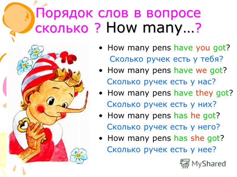 Порядок слов в вопросе сколько ? How many… ? How many pens have you got? Сколько ручек есть у тебя? How many pens have we got? Сколько ручек есть у нас? How many pens have they got? Сколько ручек есть у них? How many pens has he got? Сколько ручек ес