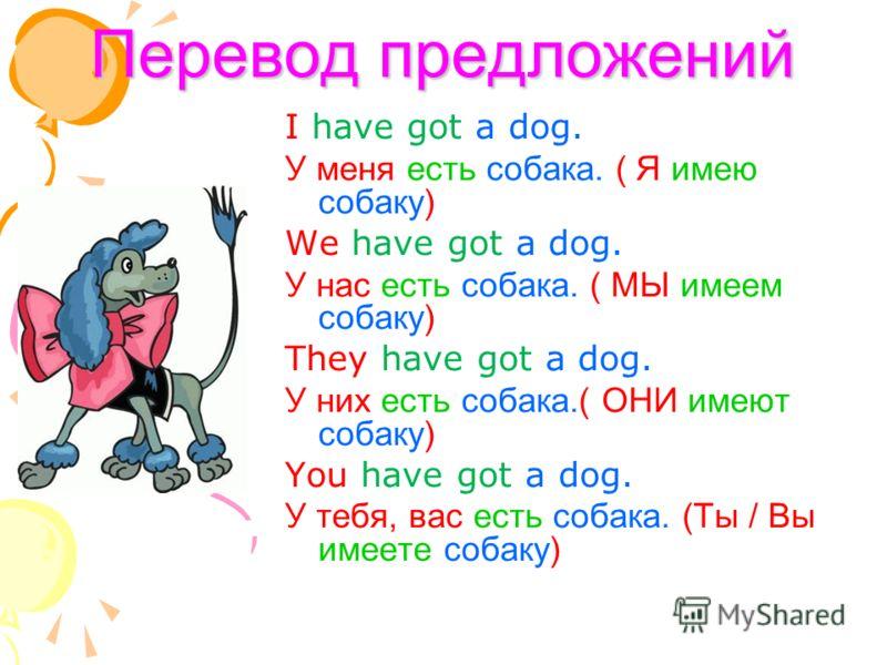 Перевод предложений I have got a dog. У меня есть собака. ( Я имею собаку) We have got a dog. У нас есть собака. ( МЫ имеем собаку) They have got a dog. У них есть собака.( ОНИ имеют собаку) You have got a dog. У тебя, вас есть собака. (Ты / Вы имеет
