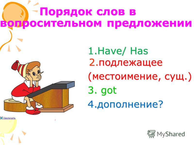 Порядок слов в вопросительном предложении 1.Have/ Has 2.подлежащее 1.Have/ Has 2.подлежащее (местоимение, сущ.) (местоимение, сущ.) 3. got 3. got 4.дополнение? 4.дополнение?