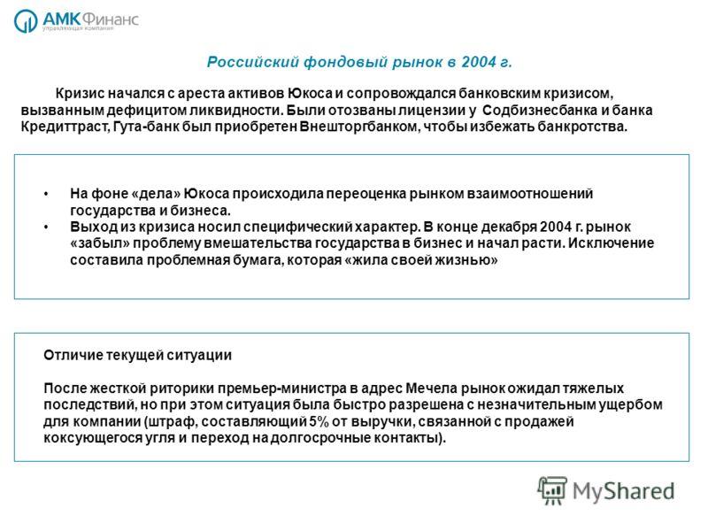Российский фондовый рынок в 2004 г. На фоне «дела» Юкоса происходила переоценка рынком взаимоотношений государства и бизнеса. Выход из кризиса носил специфический характер. В конце декабря 2004 г. рынок «забыл» проблему вмешательства государства в би