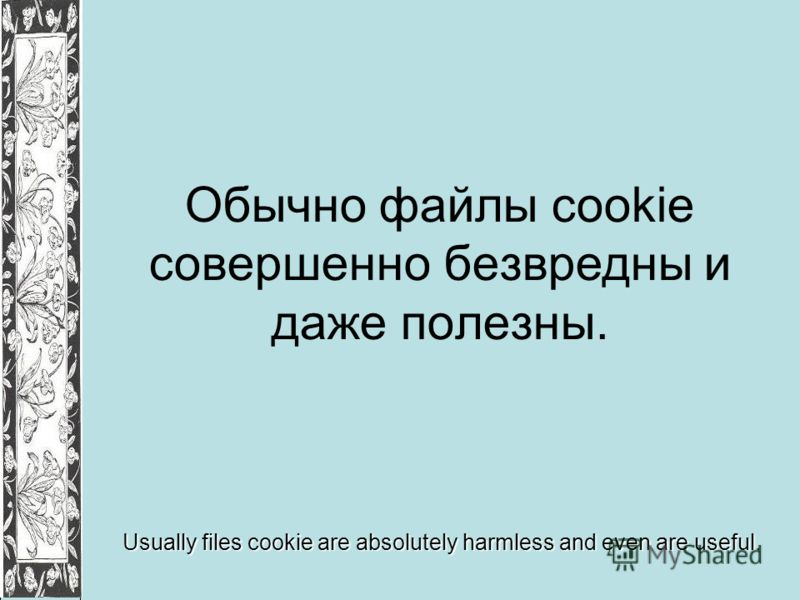 Обычно файлы cookie совершенно безвредны и даже полезны. Usually files cookie are absolutely harmless and even are useful.