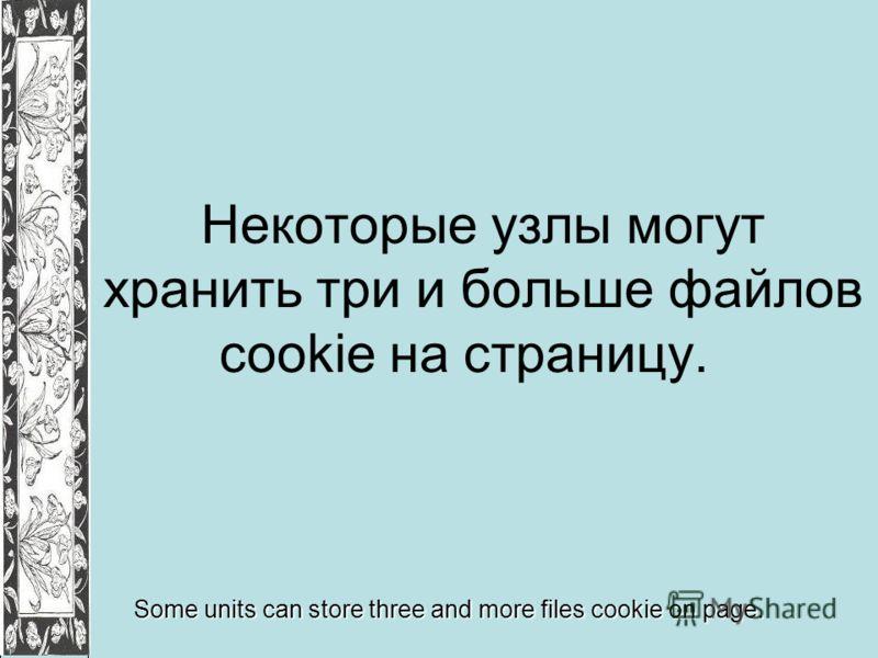 Некоторые узлы могут хранить три и больше файлов cookie на страницу. Some units can store three and more files cookie on page.