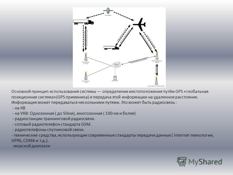 Основной принцип использования системы определение местоположения путём GPS «глобальная позиционная система»(GPS приемника) и передача этой информации на удаленное расстояние. Информация может передаваться несколькими путями. Это может быть радиосвяз
