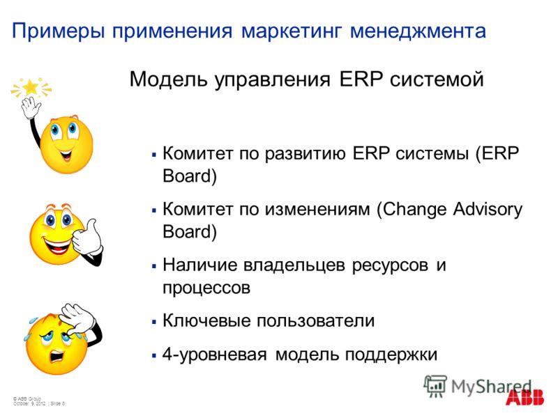 Примеры применения маркетинг менеджмента Модель управления ERP системой Комитет по развитию ERP системы (ERP Board) Комитет по изменениям (Change Advisory Board) Наличие владельцев ресурсов и процессов Ключевые пользователи 4-уровневая модель поддерж