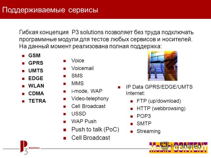 - page 13 - Гибкая концепция P3 solutions позволяет без труда подключать программные модули для тестов любых сервисов и носителей. На данный момент реализована полная поддержка: GSM GPRS UMTS EDGE WLAN CDMA TETRA Поддерживаемые сервисы Voice Voicemai