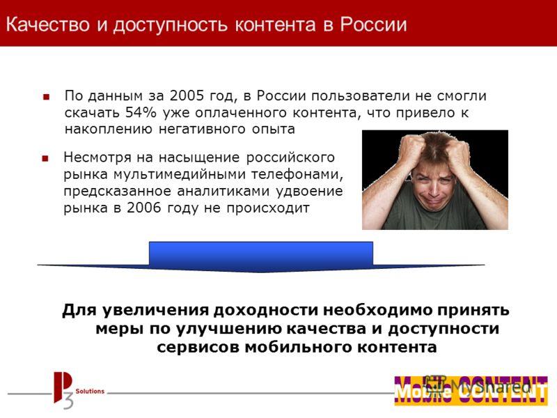 - page 6 - Качество и доступность контента в России По данным за 2005 год, в России пользователи не смогли скачать 54% уже оплаченного контента, что привело к накоплению негативного опыта Для увеличения доходности необходимо принять меры по улучшению