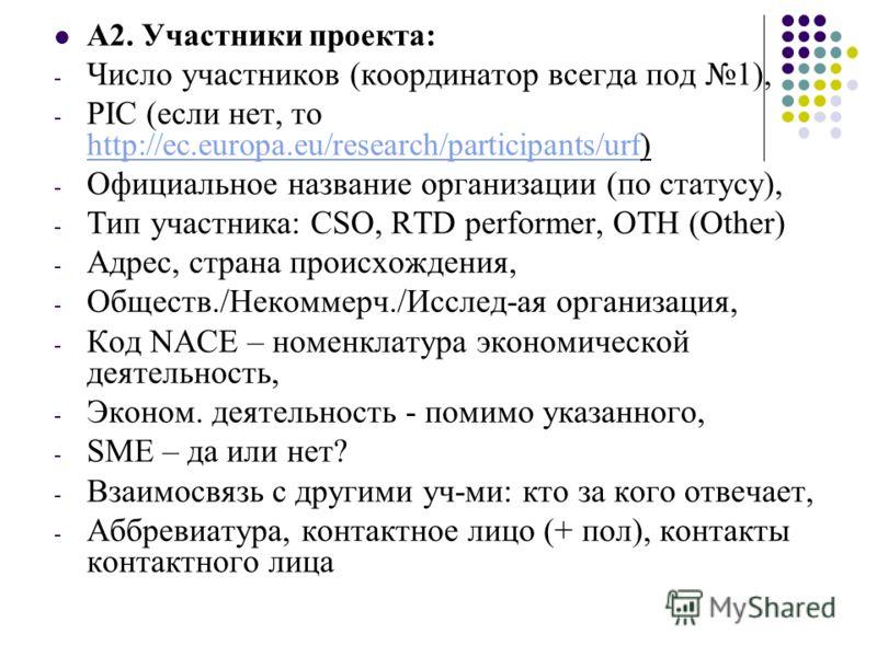 A2. Участники проекта: - Число участников (координатор всегда под 1), - PIC (если нет, то http://ec.europa.eu/research/participants/urf) http://ec.europa.eu/research/participants/urf - Официальное название организации (по статусу), - Тип участника: C