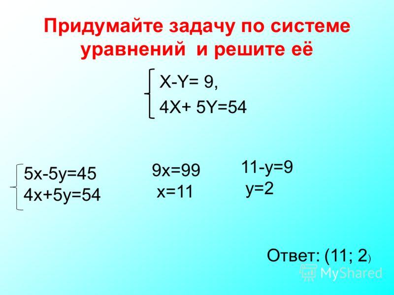 Придумайте задачу по системе уравнений и решите её X-Y= 9, 4X+ 5Y=54 5x-5y=45 4x+5y=54 9x=99 x=11 11-y=9 y=2 Ответ: (11; 2 )