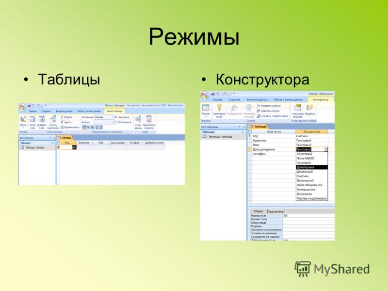 Режимы ТаблицыКонструктора