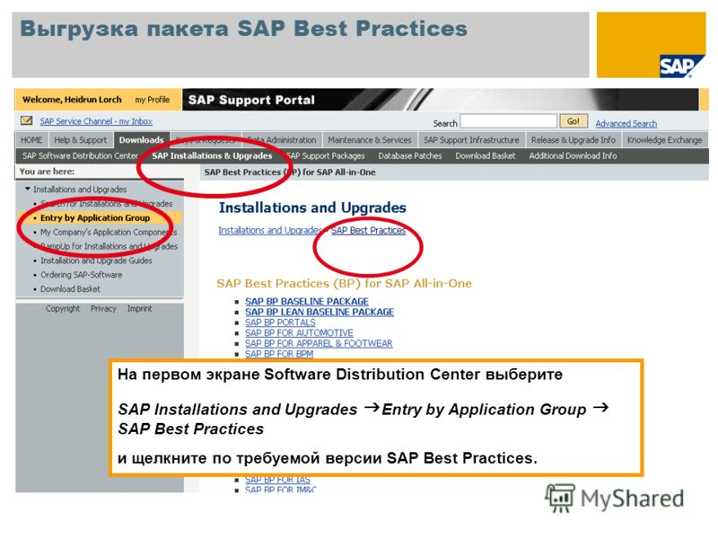 Выгрузка пакета SAP Best Practices На первом экране Software Distribution Center выберите SAP Installations and Upgrades Entry by Application Group SAP Best Practices и щелкните по требуемой версии SAP Best Practices.