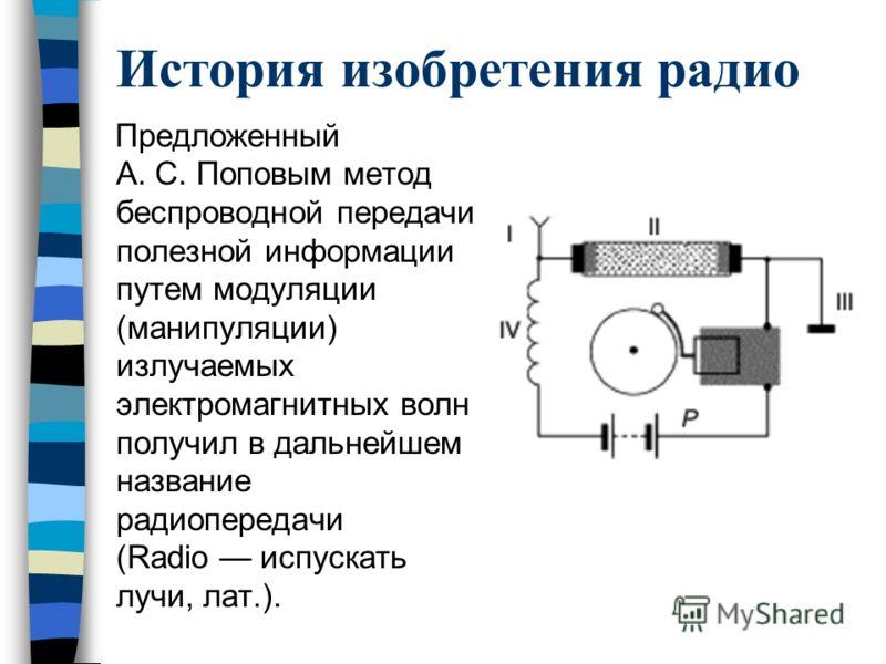История изобретения радио Предложенный А. С. Поповым метод беспроводной передачи полезной информации путем модуляции (манипуляции) излучаемых электромагнитных волн получил в дальнейшем название радиопередачи (Radio испускать лучи, лат.).