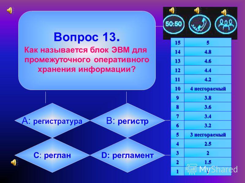 Вопрос 12. Как называется микросхема компьютера, управляющая всеми вычислениями? А: модем B: адаптер C: процессорD: сервер155144.8 134.6 124.4 114.2 10 4 несгораемый 93.8 83.6 73.4 63.2 5 3 несгораемый 42.5 32 21.5 11