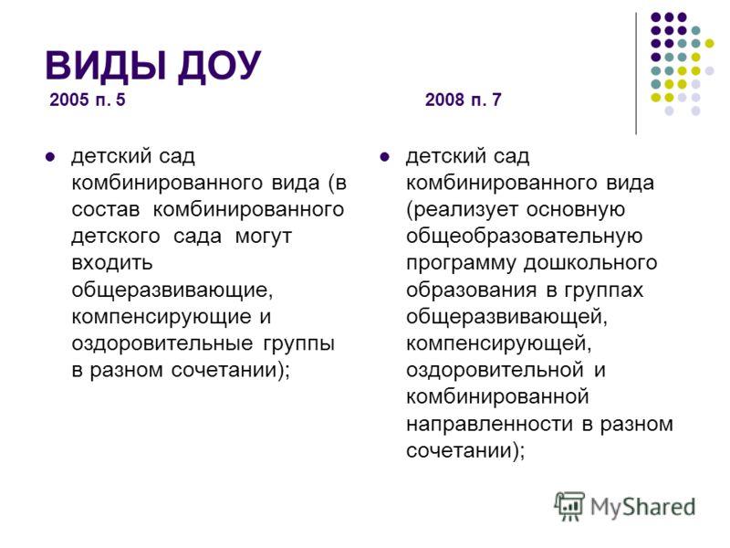 ВИДЫ ДОУ 2005 п. 5 2008 п. 7 детский сад комбинированного вида (в состав комбинированного детского сада могут входить общеразвивающие, компенсирующие и оздоровительные группы в разном сочетании); детский сад комбинированного вида (реализует основную