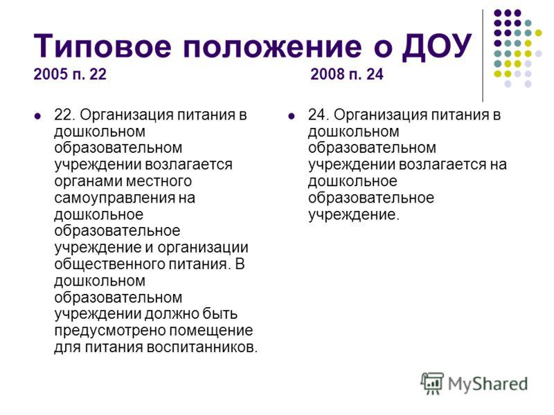 Типовое положение о ДОУ 2005 п. 22 2008 п. 24 22. Организация питания в дошкольном образовательном учреждении возлагается органами местного самоуправления на дошкольное образовательное учреждение и организации общественного питания. В дошкольном обра