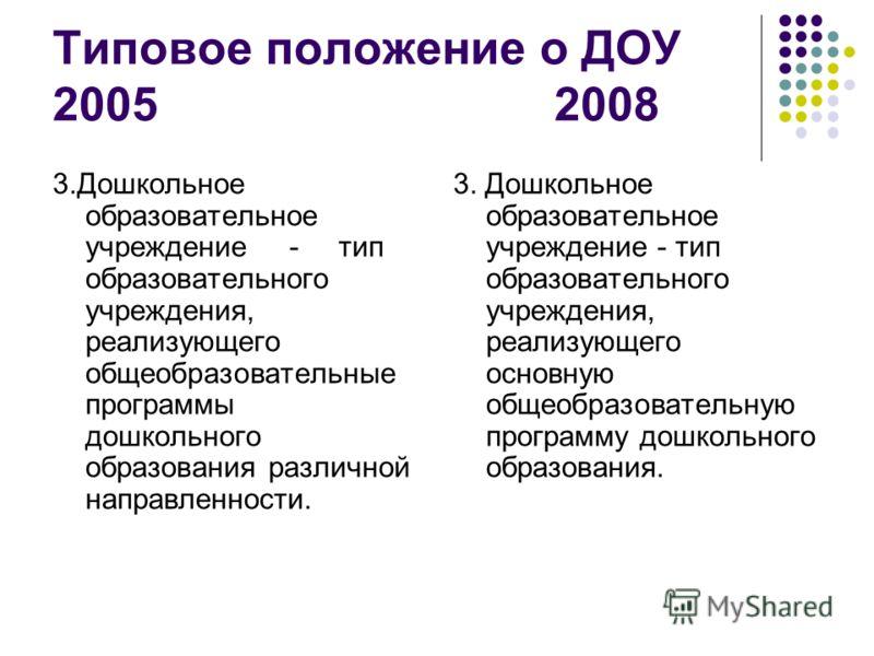 Типовое положение о ДОУ 2005 2008 3.Дошкольное образовательное учреждение - тип образовательного учреждения, реализующего общеобразовательные программы дошкольного образования различной направленности. 3. Дошкольное образовательное учреждение - тип о
