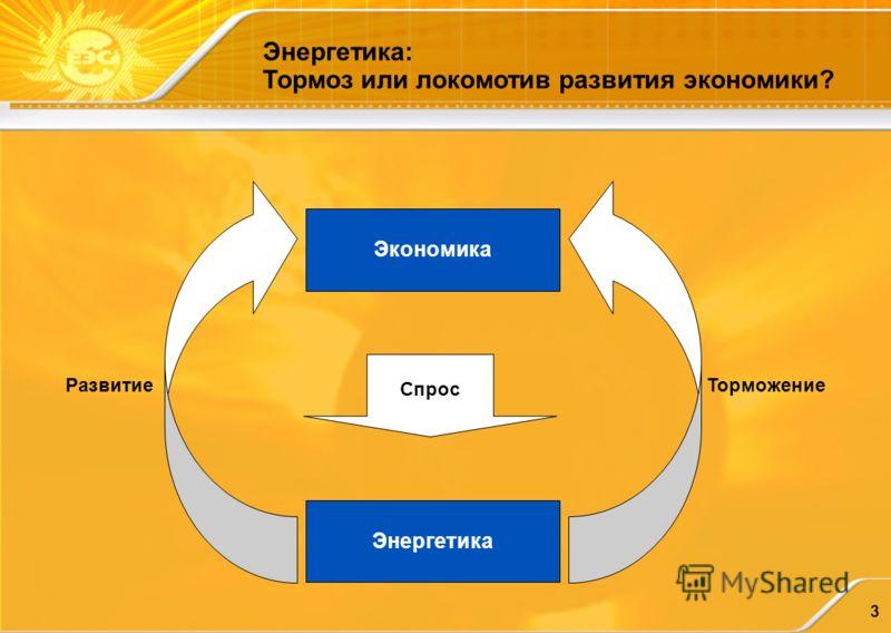 3 Экономика Энергетика Спрос РазвитиеТорможение Энергетика: Тормоз или локомотив развития экономики?
