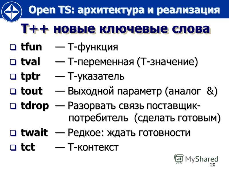 Open TS: архитектура и реализация Open TS: архитектура и реализация 20 Т++ новые ключевые слова tfun Т-функция tfun Т-функция tval Т-переменная (Т-значение) tval Т-переменная (Т-значение) tptr Т-указатель tptr Т-указатель tout Выходной параметр (анал