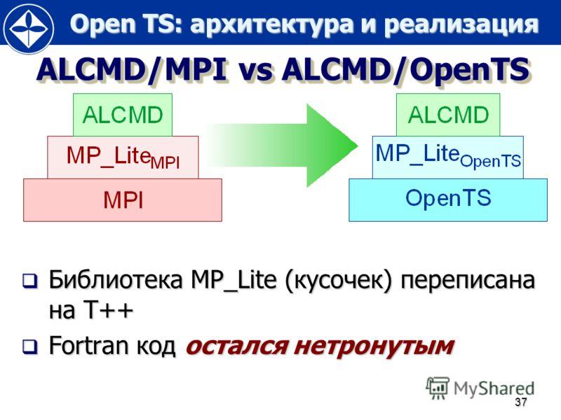 Open TS: архитектура и реализация Open TS: архитектура и реализация 37 ALCMD/MPI vs ALCMD/OpenTS Библиотека MP_Lite (кусочек) переписана на T++ Библиотека MP_Lite (кусочек) переписана на T++ Fortran код остался нетронутым Fortran код остался нетронут