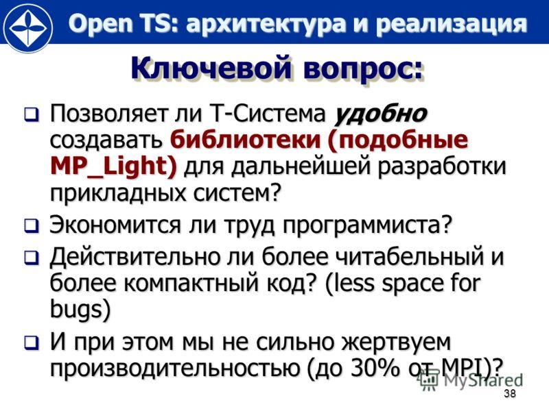 Open TS: архитектура и реализация Open TS: архитектура и реализация 38 Ключевой вопрос: Позволяет ли Т-Система удобно создавать библиотеки (подобные MP_Light) для дальнейшей разработки прикладных систем? Позволяет ли Т-Система удобно создавать библио