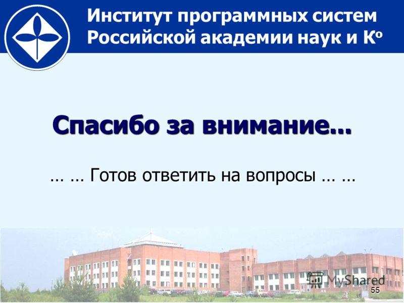 Институт программных систем Российской академии наук и К о55 Спасибо за внимание... … … Готов ответить на вопросы … …