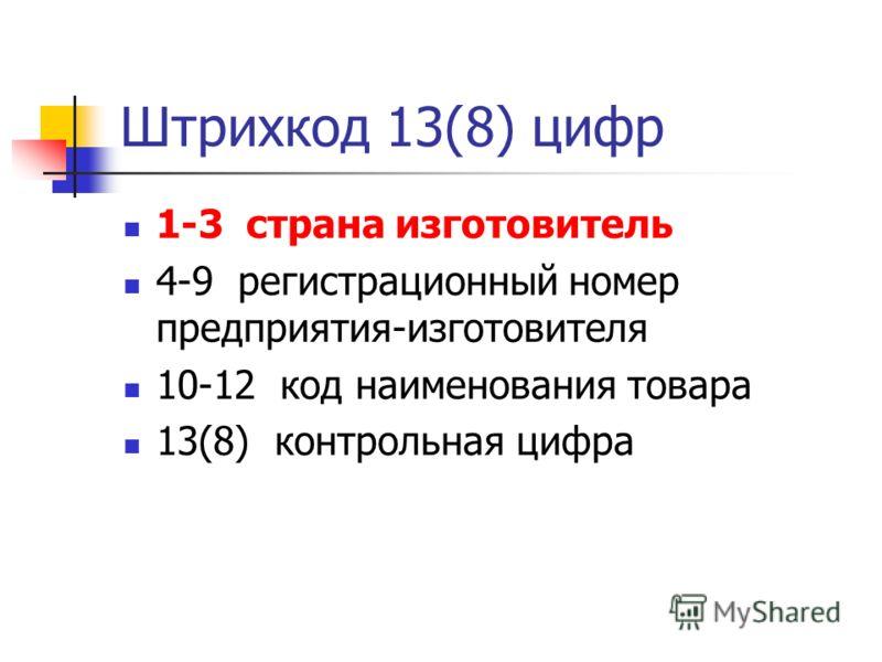 Штрихкод 13(8) цифр 1-3 страна изготовитель 4-9 регистрационный номер предприятия-изготовителя 10-12 код наименования товара 13(8) контрольная цифра