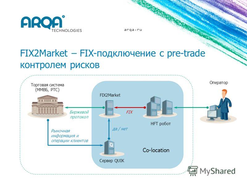 arqa.ru FIX2Market FIX Торговая система (ММВБ, РТС) Оператор Co-location HFT робот да / нет Сервер QUIK Биржевой протокол Рыночная информация и операции клиентов FIX2Market – FIX-подключение с pre-trade контролем рисков