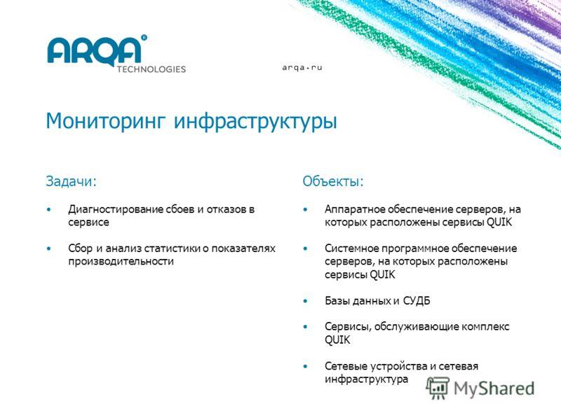 arqa.ru Мониторинг инфраструктуры Задачи: Диагностирование сбоев и отказов в сервисе Сбор и анализ статистики о показателях производительности Объекты: Аппаратное обеспечение серверов, на которых расположены сервисы QUIK Системное программное обеспеч