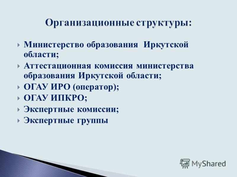 Министерство образования Иркутской области; Аттестационная комиссия министерства образования Иркутской области; ОГАУ ИРО (оператор); ОГАУ ИПКРО; Экспертные комиссии; Экспертные группы