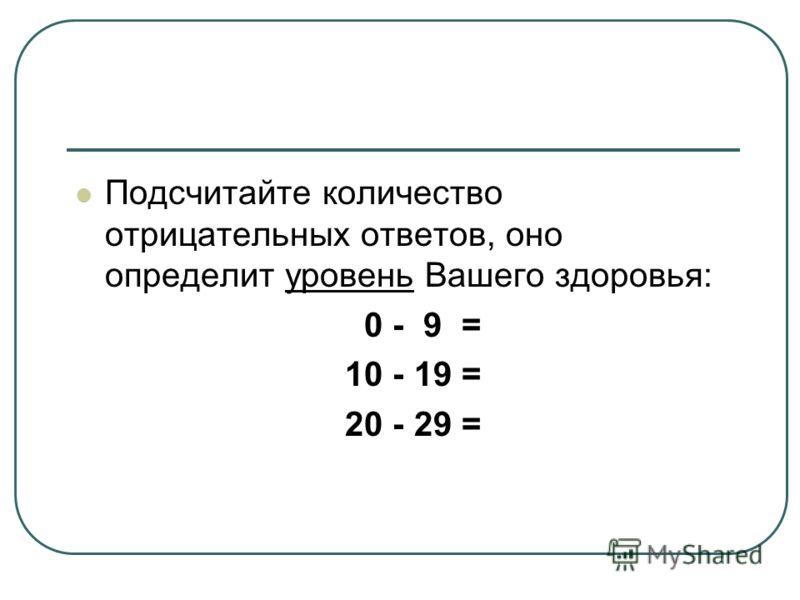 Подсчитайте количество отрицательных ответов, оно определит уровень Вашего здоровья: 0 - 9 = 10 - 19 = 20 - 29 =