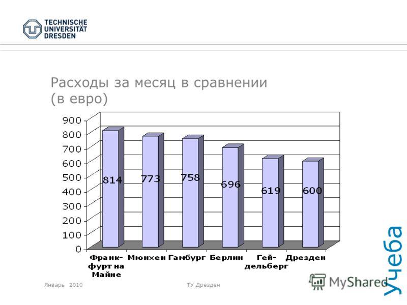 Январь 2010ТУ Дрезден Расходы за месяц в сравнении (в евро) Учеба