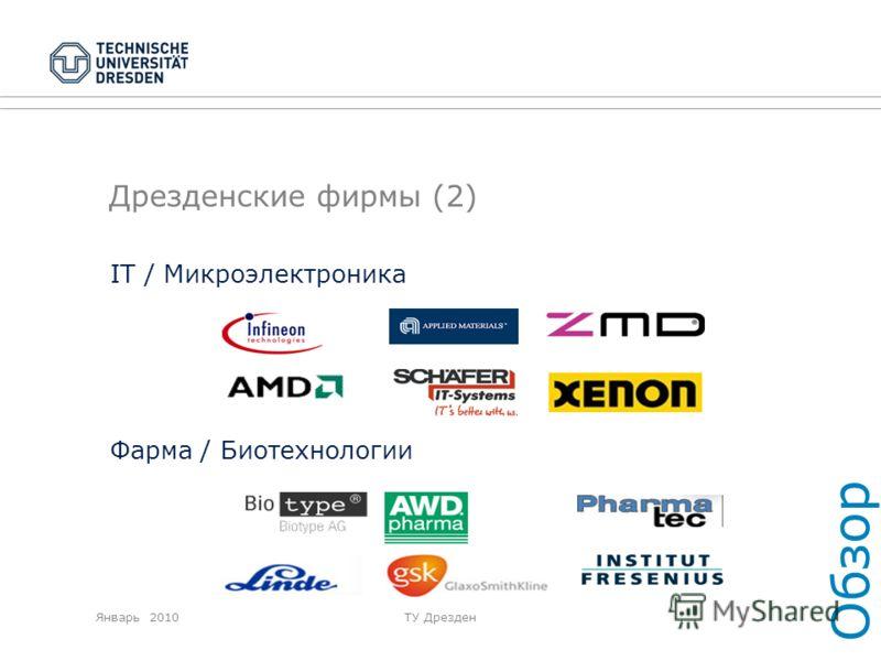 Январь 2010ТУ Дрезден Дрезденские фирмы (2) IT / Микроэлектроника Фарма / Биотехнологии Обзор