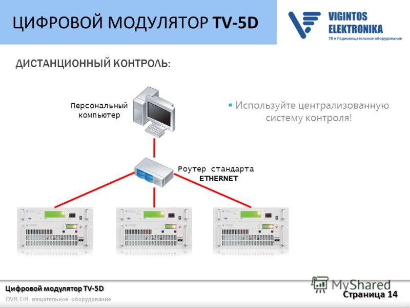 Цифровой модулятор TV-5D Страница 14 DVB-T/H вещательное оборудование ЦИФРОВОЙ МОДУЛЯТОР TV-5D ДИСТАНЦИОННЫЙ КОНТРОЛЬ: Роутер стандарта ETHERNET Персональный компьютер Используйте централизованную систему контроля!