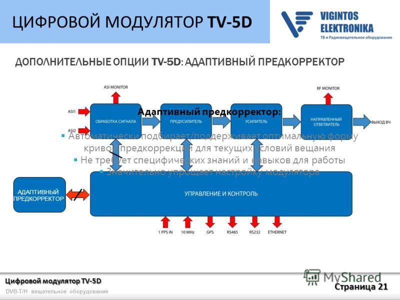 Цифровой модулятор TV-5D Страница 21 DVB-T/H вещательное оборудование ЦИФРОВОЙ МОДУЛЯТОР TV-5D ДОПОЛНИТЕЛЬНЫЕ ОПЦИИ TV-5D: АДАПТИВНЫЙ ПРЕДКОРРЕКТОР АДАПТИВНЫЙ ПРЕДКОРРЕКТОР Адаптивный предкорректор: Автоматически подбирает/поддерживает оптимальную фо