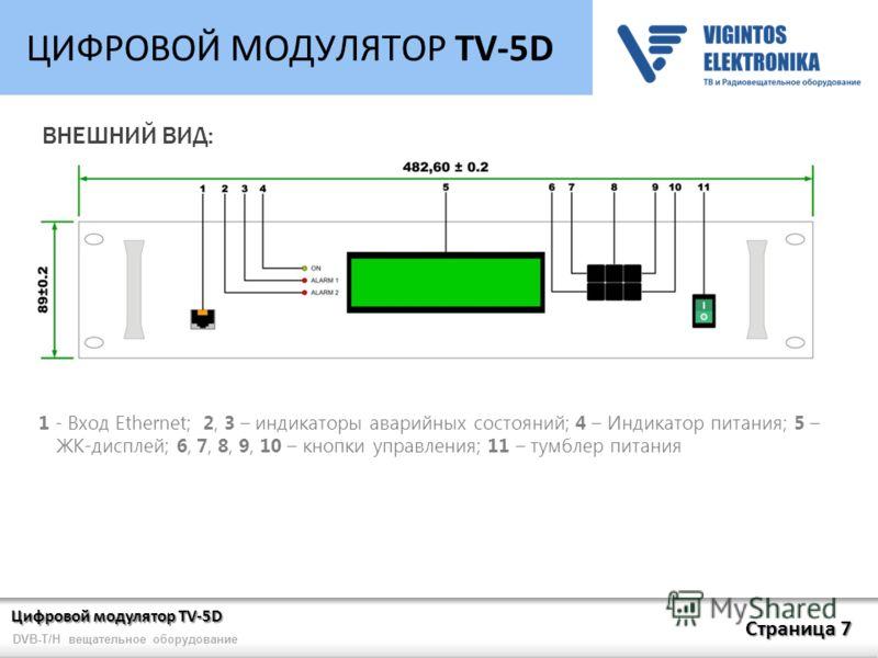 Цифровой модулятор TV-5D Страница 7 DVB-T/H вещательное оборудование ЦИФРОВОЙ МОДУЛЯТОР TV-5D ВНЕШНИЙ ВИД: 1 - Вход Ethernet; 2, 3 – индикаторы аварийных состояний; 4 – Индикатор питания; 5 – ЖК-дисплей; 6, 7, 8, 9, 10 – кнопки управления; 11 – тумбл