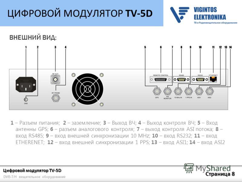 Цифровой модулятор TV-5D Страница 8 DVB-T/H вещательное оборудование ЦИФРОВОЙ МОДУЛЯТОР TV-5D ВНЕШНИЙ ВИД: 1 – Разъем питания; 2 – заземление; 3 – Выход ВЧ; 4 – Выход контроля ВЧ; 5 – Вход антенны GPS; 6 – разъем аналогового контроля; 7 – выход контр