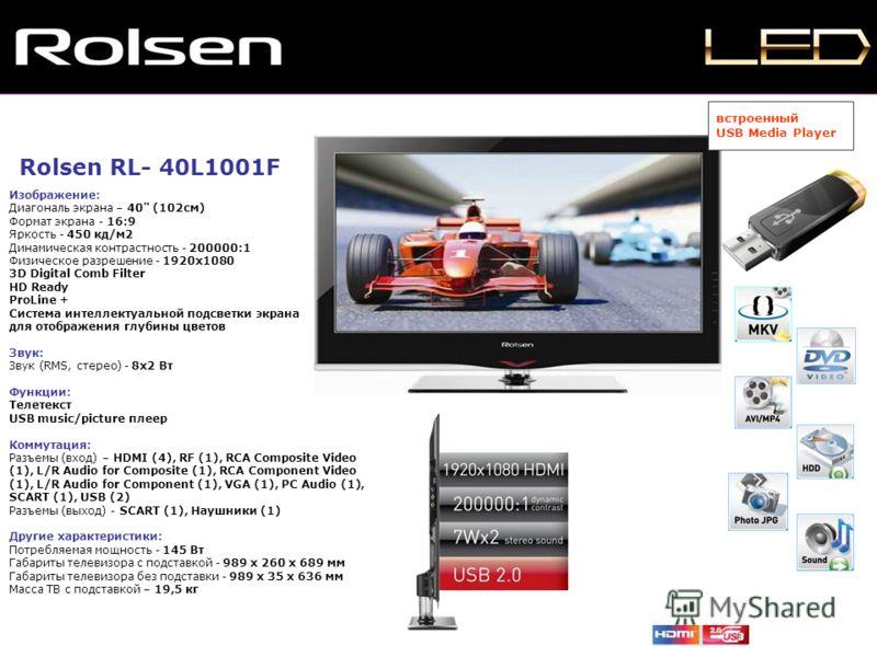 Rolsen RL- 40L1001F Изображение: Диагональ экрана – 40