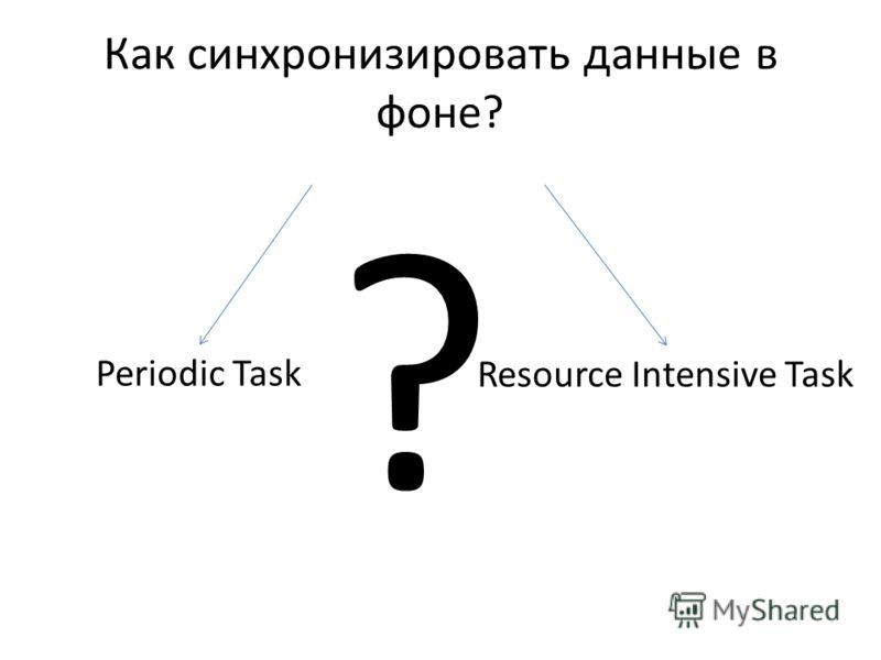 Как синхронизировать данные в фоне? Periodic Task Resource Intensive Task ?